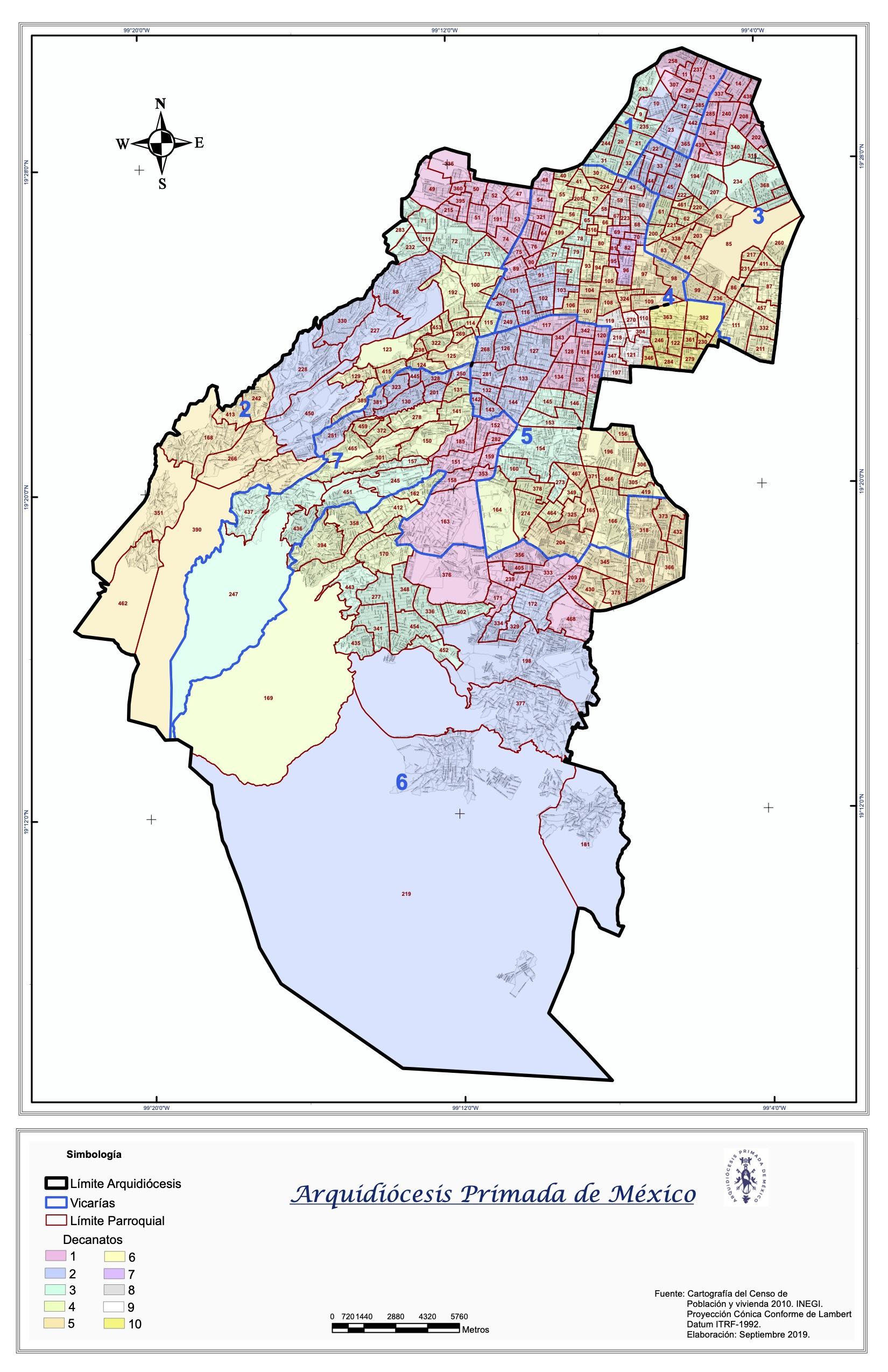 Mapa de la Arquidiócesis Primada de México